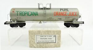"DOWNS MODEL S GAUGE TC-452H DIE CAST ""TROPICANA"" TANK CAR #1014"