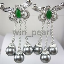 Ladies gray South Sea shell pearls Dangly Earrings Women Party Jewelry