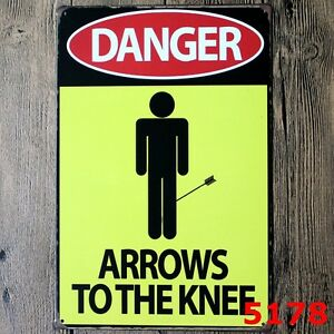Metal Tin Sign danger arrows to the knee Decor Bar Pub Home Retro Poster Cafe