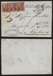 Italy Tuscany 1854 - Strip 3 on Cover Livorno to Milazzo D287
