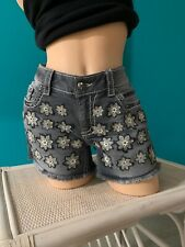 MISS ME NWOT GORGEOUS GRAY DENIM SHORTS  CRYSTAL RIVETS TAG 30 MEASURE 15 3/4""