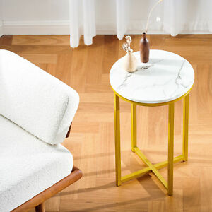 Round Coffee Table End Small Bedside Table White Marble & Gold Base 40cm Modern