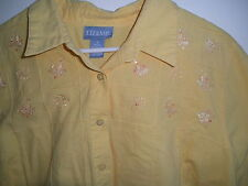 Womens High End YELLOW Cotton Shirt Embroidery Sequin Butterfly No Tuck Bottom
