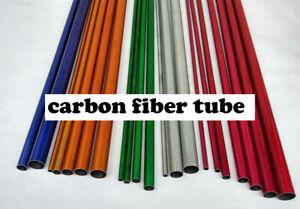 2pcs 50cm 3K Full Carbon Fiber Round Tube 10 12 16 20 22 25 30mm Red Blue Green