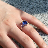 HOT 925 Silver Fashion Pear Cut Blue Sapphire Rings Wedding Jewelry Size 6-10
