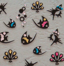 Nail Art 3D Sticker Decal Black Fish Sea Shells w/ Colored Crystals 44pcs/sheet
