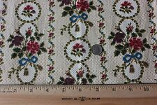 Antique French Roses & Ribbons Home Dec Cotton Textile Fabric Sample c1890