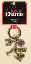 New Scottish Terrier Puppy Dog Key Charms Ring Bling Faux Diamonds 2008 Nos