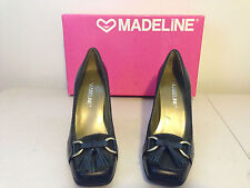 """Women's MADELINE """"Malina"""" Black Leather Slip Ons Pumps High Heel Shoes - Size 6M"""