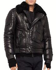 Ralph Lauren Black Label Leather - Down Flight Jacket L Large like new purple