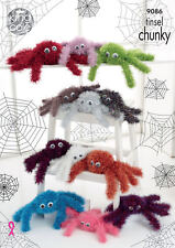 Spiders Toy Knitting Pattern Using Tinsel Chunky Yarn 2 Sizes King Cole 9086
