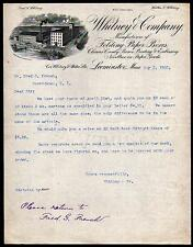 1902 Leominster MA - Whitney & Co Folding Paper Boxes history - Letter Head Rare