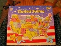 PUZZLE, 1993, M.B. MAP OF THE UNITED STATES, HASBRO, 84 PIECES STATE SHAPED USED