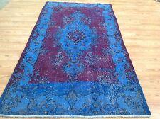 "7'11"" x 4'  Vintage  blue red  oushak overdyed rug carpet tapis retro"