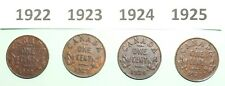 KEY DATE 1922 1923 1924 1925 CANADA SMALL ONE CENT LOT OF 4 COPPER COINS