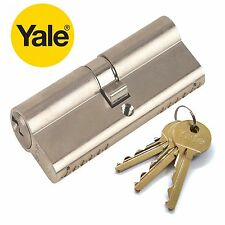 YALE DOUBLE EURO PROFILE CYLINDER LOCK 6 PIN 45/50 95mm NICKLE SILVER  [ 70608 ]