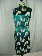 Vtg 60s Dark Green Satin Feather Brocade Oriental Sleeveless Dress-Bust 38/S-M