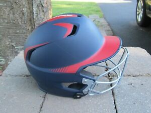 Easton Z5 Grip 2 tone blue/red  Batting Helmet SR size 6 7/8-7 5/8 w/cage