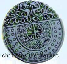 Natural chinese black green Jadeite jade dragon pendant necklace hand-carved