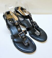 COACH Viktoria Black Leather T-Strap Thong Strappy Wedge Sandals 8M