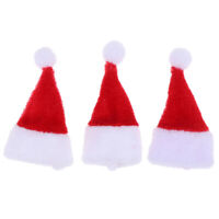 3pcs/set 1:12 Dollhouse Miniature Mini Red Christmas Hat Decoration Accessor Wn