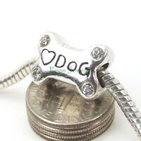 Dog Bone with Heart Crystal Bead Large Hole Slider for European Charm Bracelet
