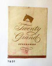OLD CIGARETTE - TOBACCO PACKET LABEL. TWENTY GRAND STANDARDS