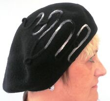 Damenmütze  Baskenmütze von Mc Burn in Schwarz Elegant  Mützen Hut