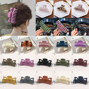 Women Hairpin Solid Color Hair Claw Frosted Acrylic Hair Clip Barrette Headwear