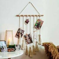 Hanging Photo Display Macrame Boho Wall Hanging Picture Organizer & 20 Wood Clip