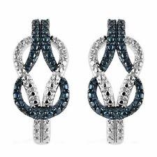925 Sterling Silver Hoop Hoops Earrings Platinum Rhodium Plated Diamond I3