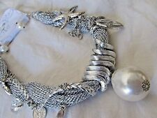 Silver Mesh Chunky Fashion Necklace & Earrings Large Faux Pearl Sea Charms NWT