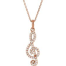 Petite Clave De Sol Diamante 40.6cm Collar en 14k oro rosa ( 1/4 Ct. TW