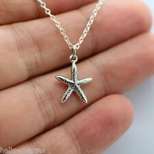 STARFISH CHARM NECKLACE - 925 Sterling Silver *NEW Beach Ocean Nautical Starfish