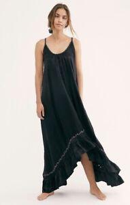 Free People Maxi Dress Slip Amor Amor Crochet Ruffle Swing Satiny Black M NEW