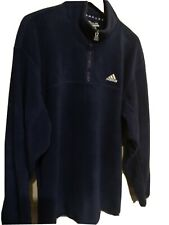 MENS ADIDAS OVER THE HEAD FLEECE TOP, XL, XXL, BLUE, 1/4 ZIP.VGC
