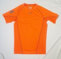 Under Armour Mens Compression Shirt sz L Orange Textured Printed Heat Gear SS