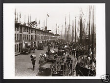 OLD BOSTON T Wharf (demolished) Boats Horse Carts 1907 Photo MODERN POSTCARD