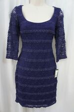 Guess Los Angeles Dress Sz 4 Plum 3/4 Sleeve Laced Cocktail Evening Party Dress