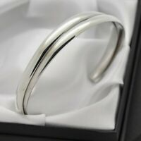 Vintage Plain Solid 925 Sterling Silver Double Band Design Cuff Bracelet