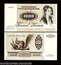 DENMARK 1000 KRONER P53 1986 EUROPEAN SQUIRREL UNC LARGE CURRENCY NOTE