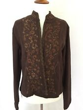 CHICO'S NEW W/Tags ($128) Gold Scroll Jupiter Jacket Chocolate Size 1 (M - 8/10)