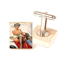 Pin Up Girl Cufflinks Car Sexy Brunette Vintage Cufflinks Handmade unique gift