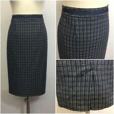 Knee Length Cotton Checked Straight, Pencil Skirts for Women