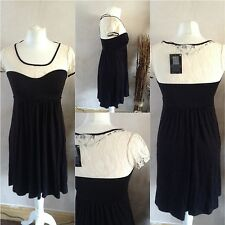 ladies black cream dress atmosphere size 10 viscose new