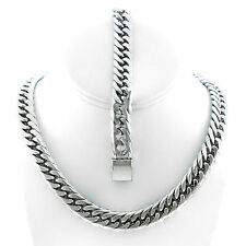 """Mens Stainless Steel Miami Cuban Chain And Bracelet Set 13mm 30"""" JayZ Hip Hop"""