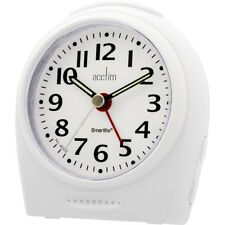Acctim Broadway Smartlite Alarm Clock Non Ticking Quiet Sweeper White Bold 14982
