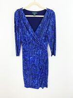 Lauren Ralph Lauren Ruched Jersey Faux Wrap Dress Size 10 Blue Patterned Stretch