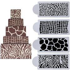 4X Animals Skin Cake Cookie Fondant Side Baking Stencil Wedding Decorating Tool