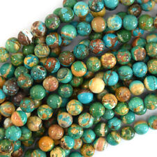 Brown Green Turquoise Round Beads Gemstone 15.5